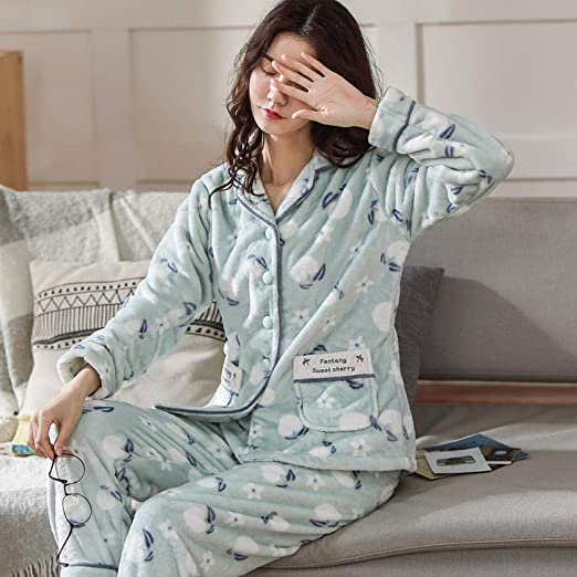 Bayrick Pijama Invierno Mujer Polar,Conjunto de Pijama de ...