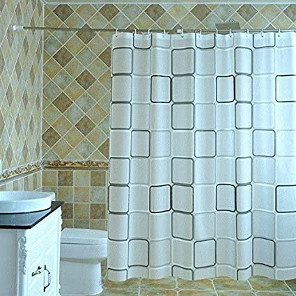 ZnzbztToilet Water Resistant Anti Mildew Grid Shower Curtain Cloth Bathroom Wall Curtains Sub