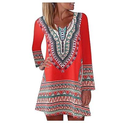 Aunimeifly Casual Women\'s Bohemian Summer Print Sleeveless Sling Mini Dress A-Line Loose Above Knee Sundress: Clothing [5Bkhe1206891]