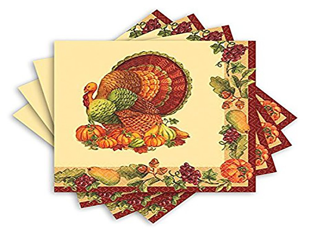 Amscan Joyful Harvest Thanksgiving Luncheon Paper Napkins 13'' x 6'' Pack 125 Party Supplies , 750 Pieces