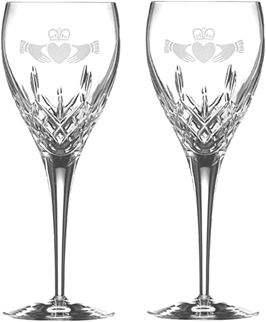 Galway Crystal Claddagh Friendship Wine Glasses Set of 4
