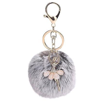 Gbell Pom Pom Keychains for Women Girls-Fluffy Cute Dancing Angel Puffy  Ball Key Chains ec6523cc26