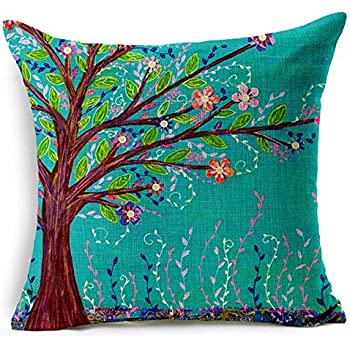 Oil Painting the Branch Flower Birds Cotton Linen Throw Pillow Case Cushion Cover Home Sofa Decorative 18 X 18 Inch (TREE)