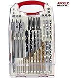 Apollo - Juego de brocas, 40piezas, para metal, madera, plástico y cemento, revestimiento de titanio, alta velocidad, en caja de almacenamiento compacta