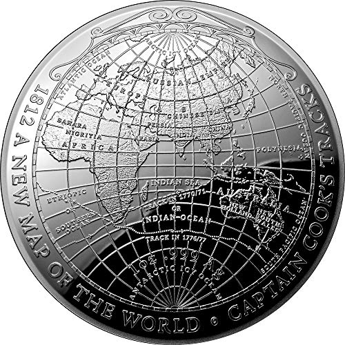 - 2019 AU Modern Commemorative PowerCoin 1812 A NEW MAP OF THE WORLD Terrestrial Dome 1 Oz Silver Coin 5$ Australia 2019 Proof