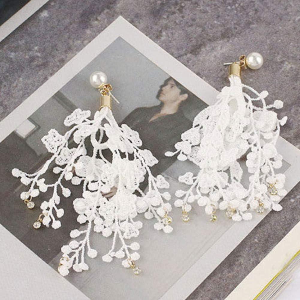 SSEHL Pendientes Pendientes de Gota de Encaje Joyería de Moda de Cristal Borla Larga Perlas simuladas Pendiente Mujeres
