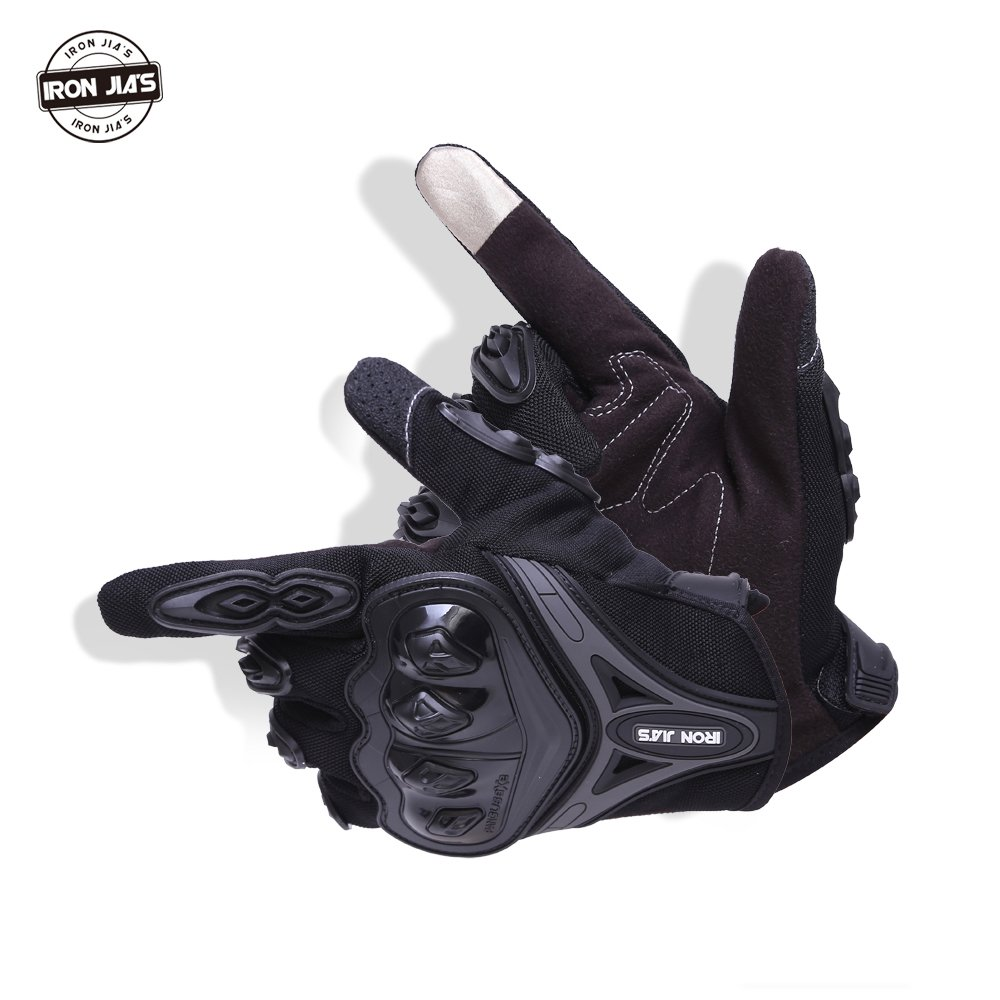 Motorcycle gloves Full finger durable for road racing bike summer spring Powersports support touch screen BLACK-M