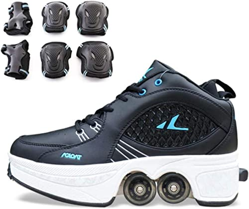 Alivisa kick out roller skate shoes LED Roller Skate Shoes With Wheels Luminous Double Wheel Trainers Skateboarding Shoes Gymnastics Sneakers For Boys