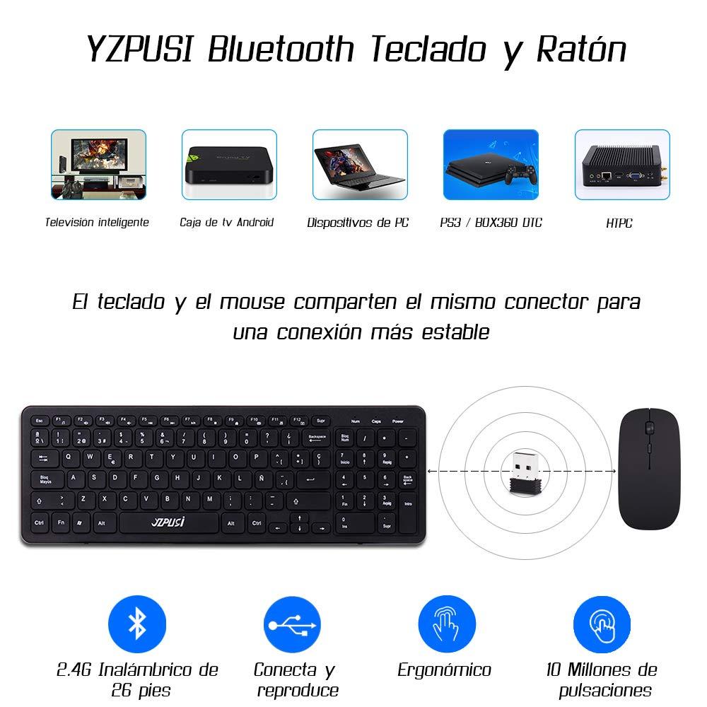 YZPUSI Wireless Inalámbricos Español Teclado y Ratón, Ultra Slim Wireless QWERTY Español Teclado per Windows PC, Portátil silencioso Raton: Amazon.es: ...