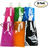 Dongfang 6 Pieces Collapsible Water Bottle Lightweight Sports Drink Bottle for Travel Hiking