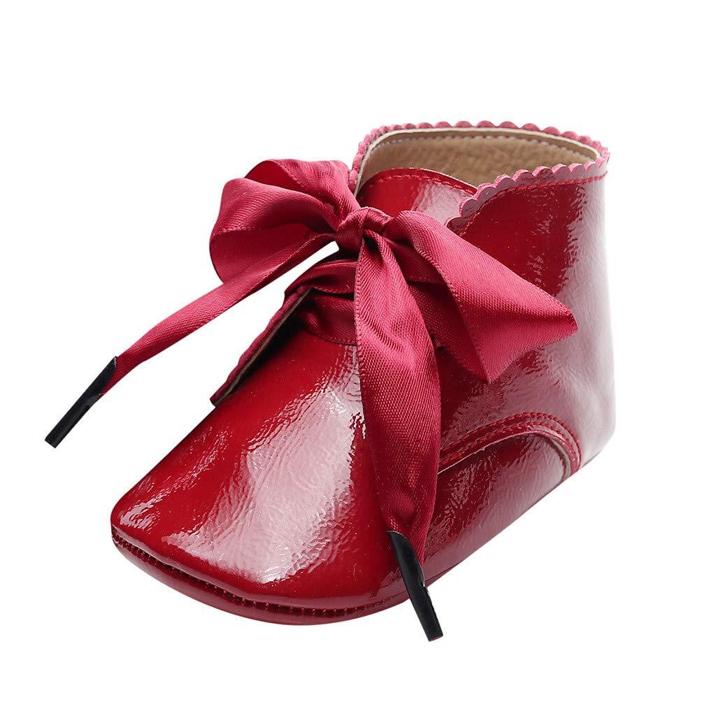 SSUPLYMY Leder Stiefeletten Mädchen Neugeborene Lauflernschuhe Winter Warme Kurze Stiefel rutschfeste Freizeitschuhe Erste Wanderer Schuhe Booties