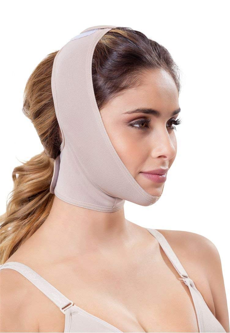 Chin strap Support Band Neck Bandage Mentonera Post Quirurgica Face Lifting Slimmer Chin Lift Facial Compression SCA001 (Medium, Beige) by Fajitex