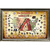 MLB Arizona Diamondbacks Major League Baseball Parks Map 20x32 Framed Collage with Game Used Dirt From 30 Parks