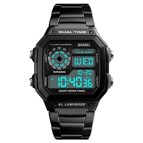 Skmei Reloj Hombre, Hombre Digtial Reloj Acero Inoxidable Negro de Merca Lujo Retroiluminación Cronómetro Acuático 50m Reloj Deportivo Digital para Hombre: ...