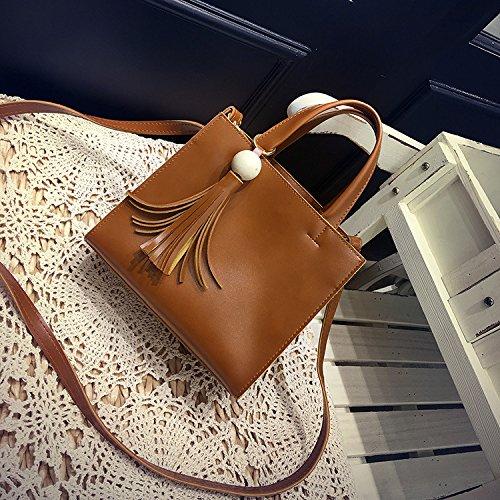 pequeña bolsa black coreano Bolso Hombro nuevo de portátil Bolso YIUXB madera Bolso de de Hombro negro BPvqZ