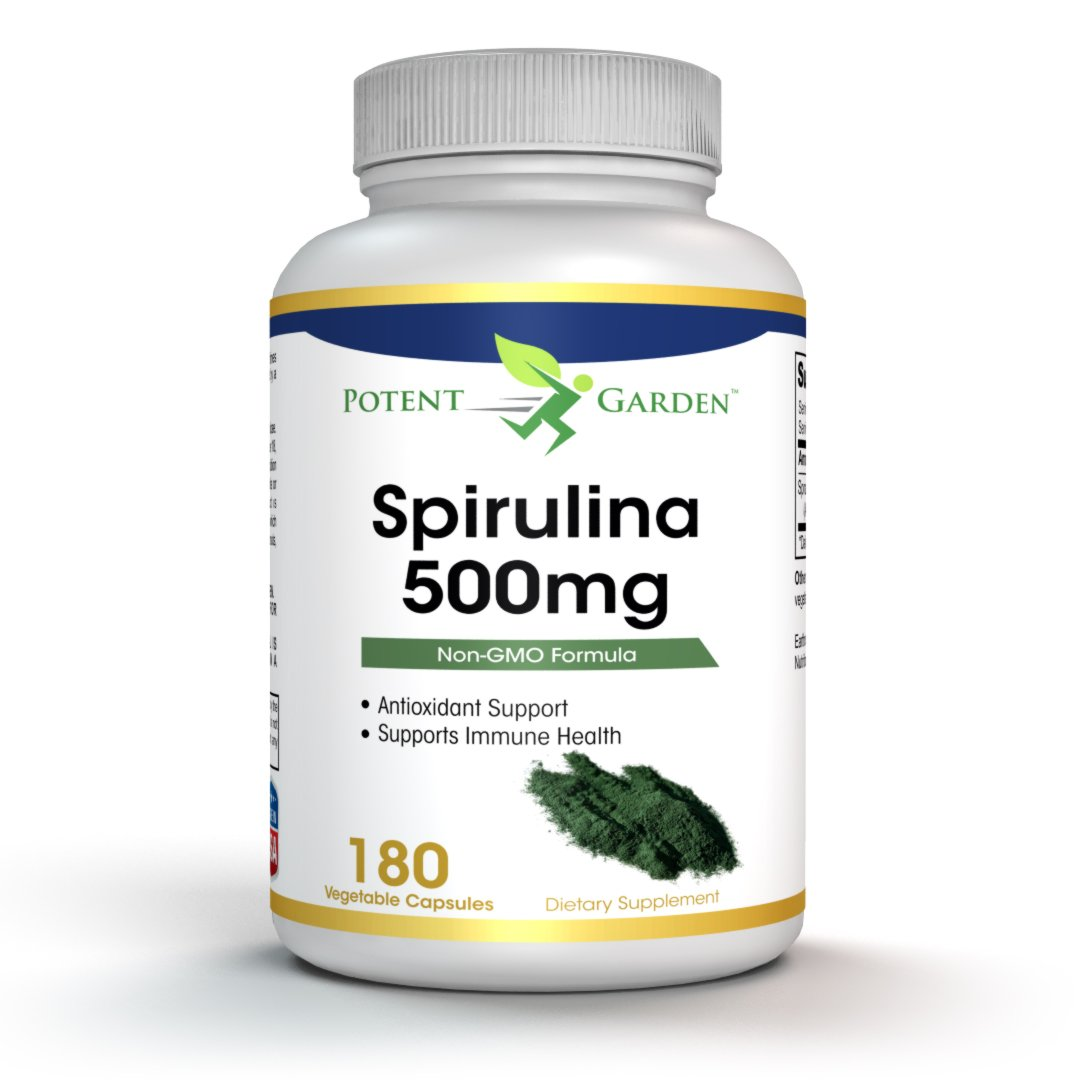 Spirulina Powder Capsules, Highest Quality Non GMO Spirulina Nutrition Superfood, 500mg per Capsule, 100% vegetarian & non-irradiated, 180 Capsules, Easy-to-Swallow