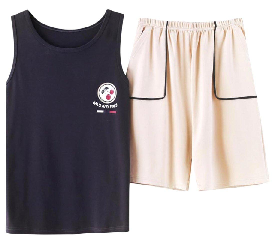 Vska Men Casual Loose Jacquard Homewear Fine Cotton Sleepwear Set 3 M
