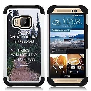 """Pulsar ( Libertad Gusto Do Felicidad Inspiring"""" ) HTC One M9 /M9s / One Hima híbrida Heavy Duty Impact pesado deber de protección a los choques caso Carcasa de parachoques"""