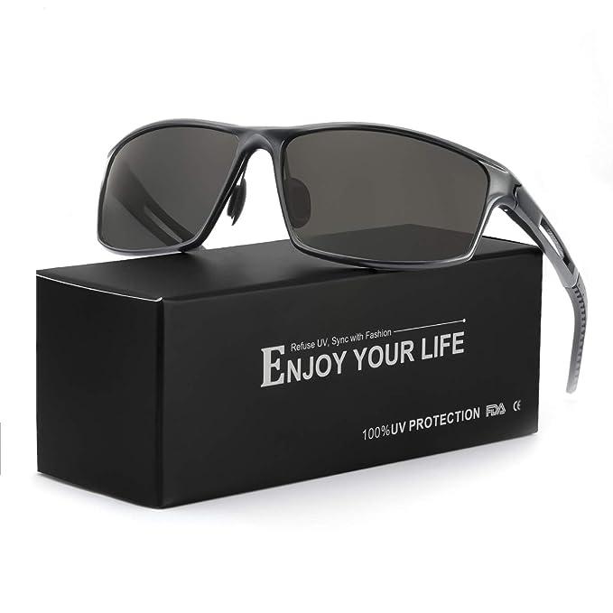 TJUTR Gafas De Sol Hombre Deportivas Espejo Polarizadas Anti Reflectante Ultraligero Metal Protección 100% UVA UVB