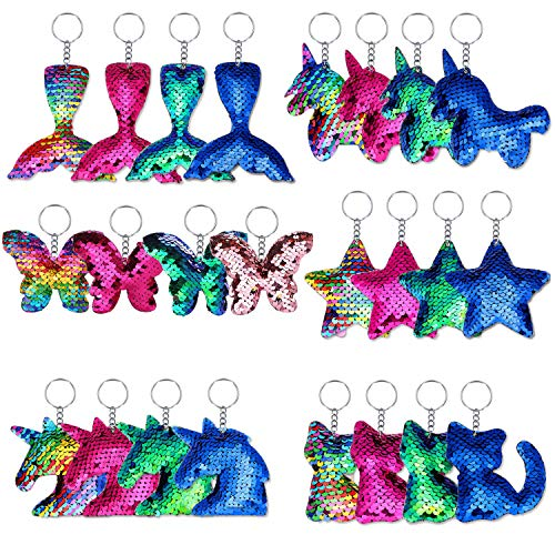 (Ameolela 24 Pieces Sequin Keychains Flip Sequins Keychain with Unicorn Mermaid Tail butterfly Cat Shape for Kids Girls Birthday Party Gifts)