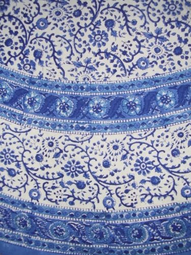 Rajasthan Block Print Tablecloth 72 Inch Round