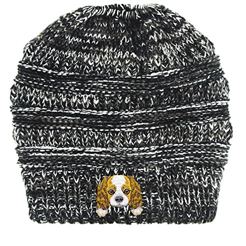 Cavalier King Charles Spaniel/Embroidered Puppy Dog Series Beanie - Stretch Fleece Cable Knit High Bun Ponytail Skullies Hat Cap - Black White ()