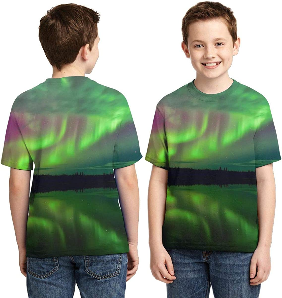 Summer Tops for Boys Youth T-Shirts Aurora Landscape Full Printed Short Sleeve Crew Neck Tees
