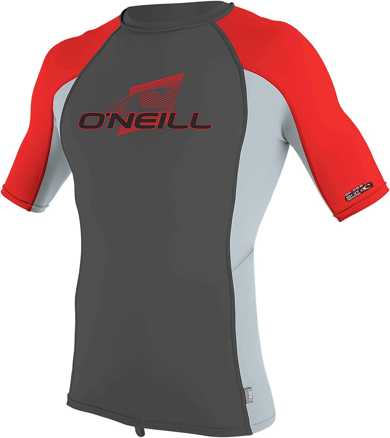 O'Neill Youth Premium Skins UPF 50+ Short Sleeve Rash Guard, Raven/Cool Grey/Red, 12