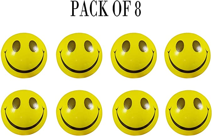 ToyStack Smiley Face Squeeze Balls for Stress Relief and Playing (Yellow) Pack of 8
