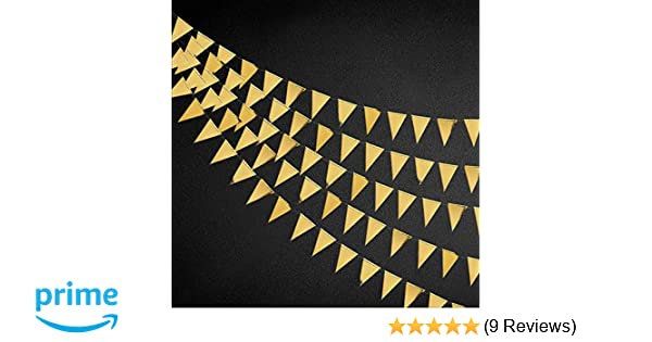 30 Ft Champagne Gold Double Sided Glitter//Metallic Paper Triangle Flag Bunting Pennant Banner for Wedding Birthday Holiday Festivals Anniversary Bridal Shower Hen Party Theme Party Supplies Decoration