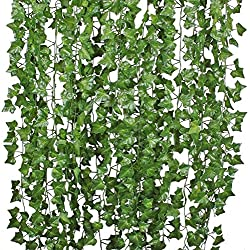 DearHouse I01732 84 ft-12 Pack Artificial Ivy Leaf Plants Vine Hanging Garland Fake Foliage Flowers Home Kitchen Garden Office Wedding Wall Decor, Green