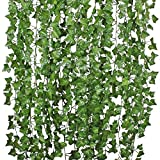 number charms decorative - DearHouse I01732 84 Ft-12 Pack Artificial Ivy Leaf Plants Vine Hanging Garland Fake Foliage Flowers Home Kitchen Garden Office Wedding Wall Decor, Green