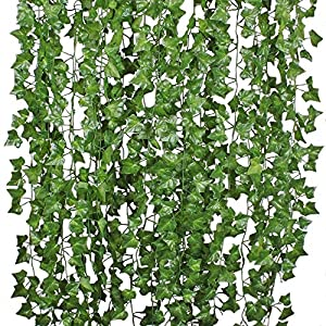 DearHouse Artificial Ivy Vine and Eucalyptus Garland Faux Eucalyptus Leaves Vines 1