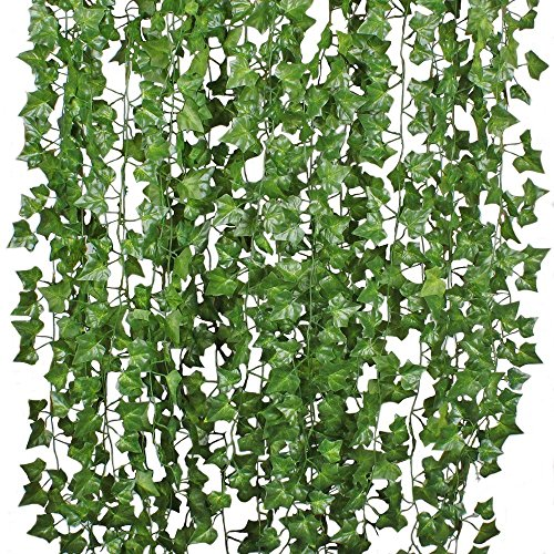 (DearHouse 12 Strands Artificial Ivy Leaf Plants Vine Hanging Garland Fake Foliage Flowers Home Kitchen Garden Office Wedding Wall Decor, 84 Feet, Green)