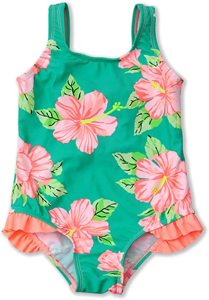 HZYBABY Infant Baby Girls Two Piece Floral Print Swimsuits Toddler One Shoulder Ruffle Tankini Bathing Suit
