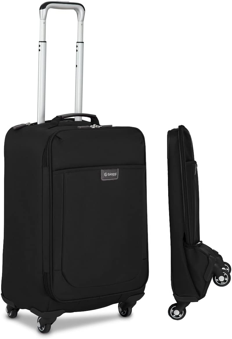 Biaggi Leggero Foldable Spinner Carry-On Suitcase - Compact Luggage 22-Inch - As Seen on Shark Tank - Black