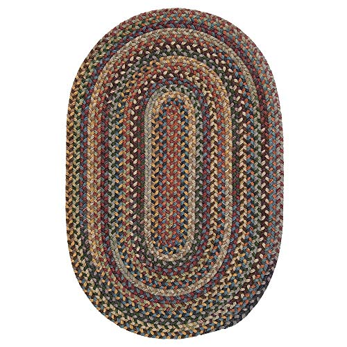 1 Piece 5' x 8' Oval Farmhouse Rustic Floral Geometric Pattern Wool Area Rug, Traditional Border Stripe Design Latex Free Hand Woven Braided Rug, Classic Multi Colored Green Blue Red Area Rug