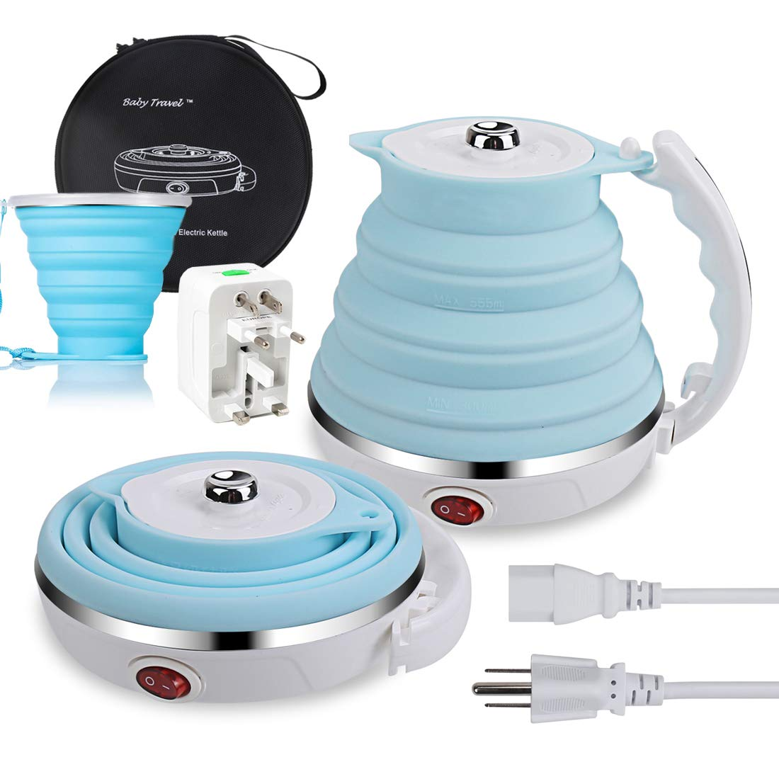 Travel Electric Kettle, Bluelark Food Grade Silicone Foldable Portable Kettle with Collapsible Cup, Dual Voltage 110-220V and Detachable Power Cord, 555ML Blue