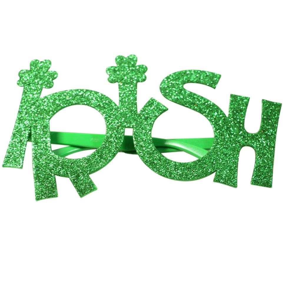 LUOEM St.Patrick\'s Day Glasses Shamrock Glass Glitter \