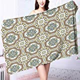 PRUNUS 100% Cotton Bathroom Towels Middle Eastern Islamic Chevron Pattern with Damask Effects Print Umber Yellow Cream Fluffy, and Absorbent, Premium Quality