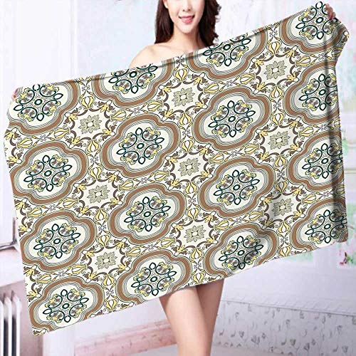 PRUNUS 100% Cotton Bathroom Towels Middle Eastern Islamic Chevron Pattern with Damask Effects Print Umber Yellow Cream Fluffy, and Absorbent, Premium Quality by PRUNUS