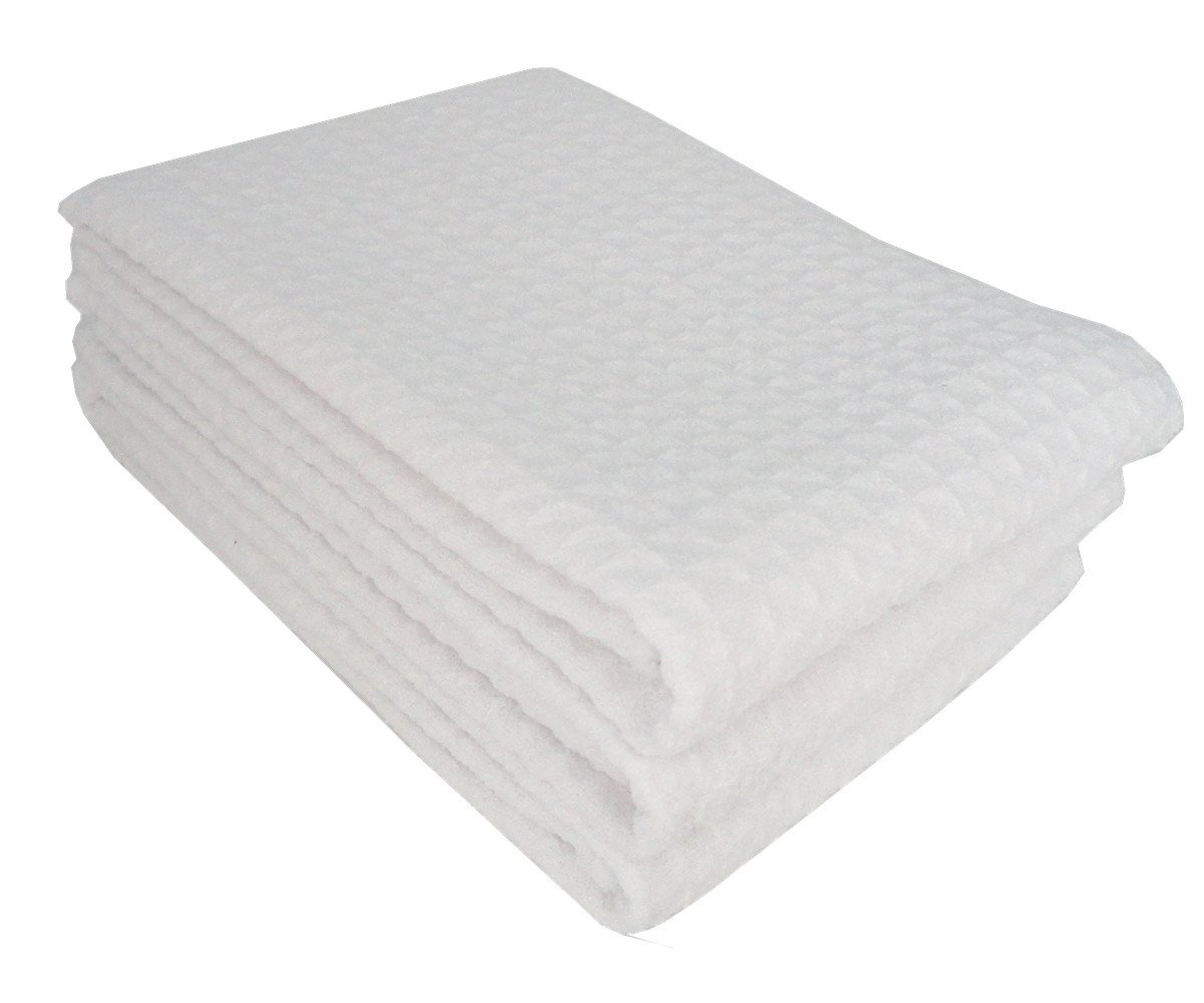 Mia'sDream Microfiber Waffle Weave Kitchen Thick Towels Dish Cloth 3 Pack 16inch X 24inch (White)