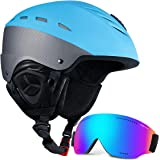 Ski Helmet Men Women Snow Sports Helmet Snowboard Helmet with Detachable Snow Mask Anti-Fog Anti-UV Integrated Goggle for Skiing,Snowboarding,Motorcycle Cycling and Snowmobile