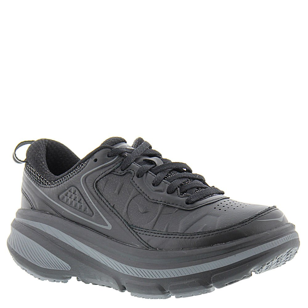 Hoka One One Womens Bondi 4 LTR Road Running Shoe,Black Leather,US 11 M