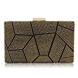Women Clutches Crystal Evening Bags Clutch Purse Party Wedding Handbags (Gold)