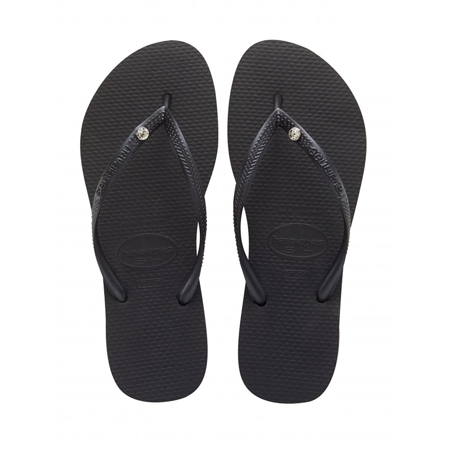 Womens Havaianas Crystal Glamour Black Flip Flops SIZE 3/4 BRA 35/36:  Amazon.co.uk: Shoes & Bags