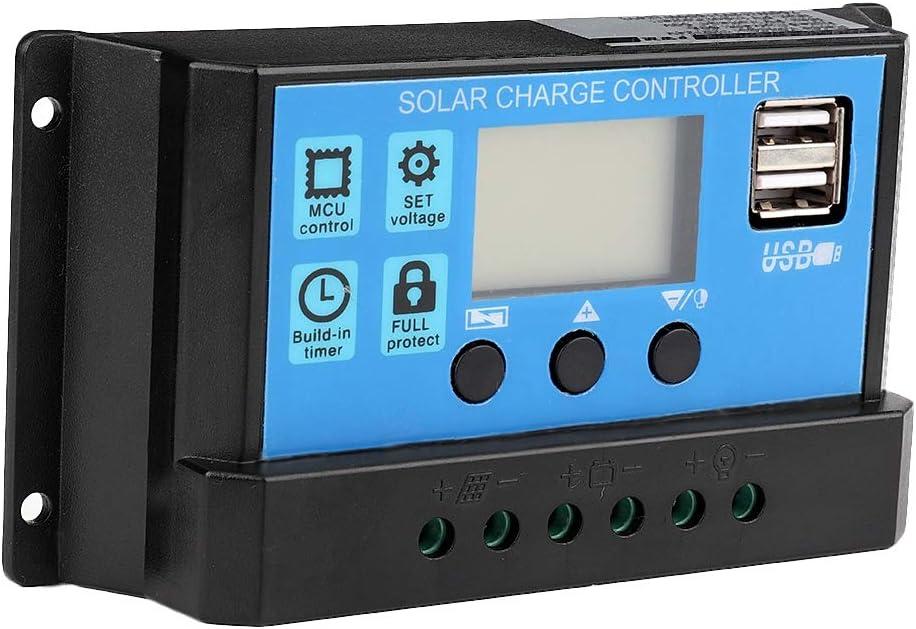 Controlador de Carga Solar, 12V-24V MPPT Cargador de Batería Solar Controlador de Carga Solar Controlador PWM 60A / 50A / 40A / 30A / 20A / 10A(60A)
