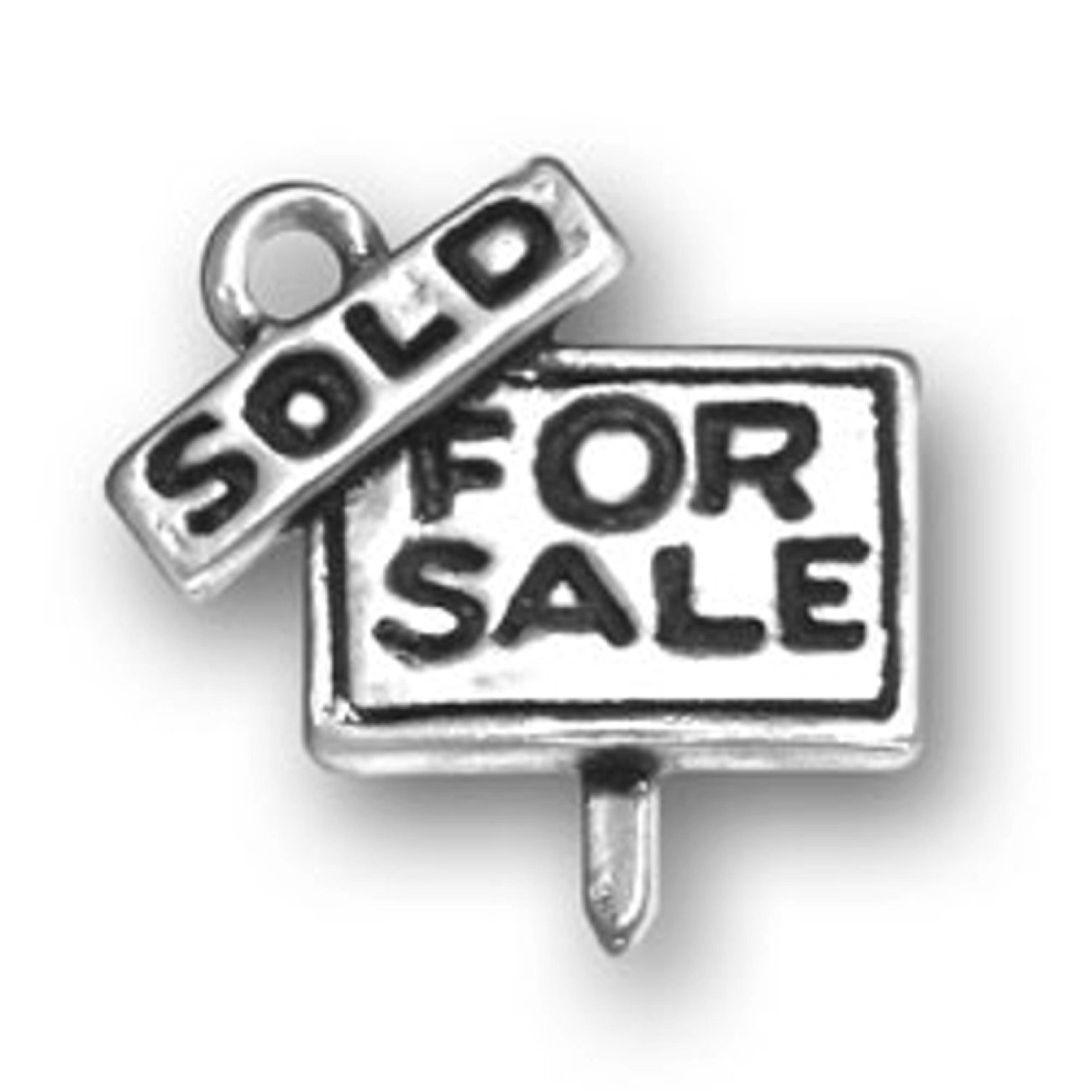 Sterling Silver Girls .8mm Box Chain 3D Realtors FOR SALE Sign SOLD Pendant Necklace