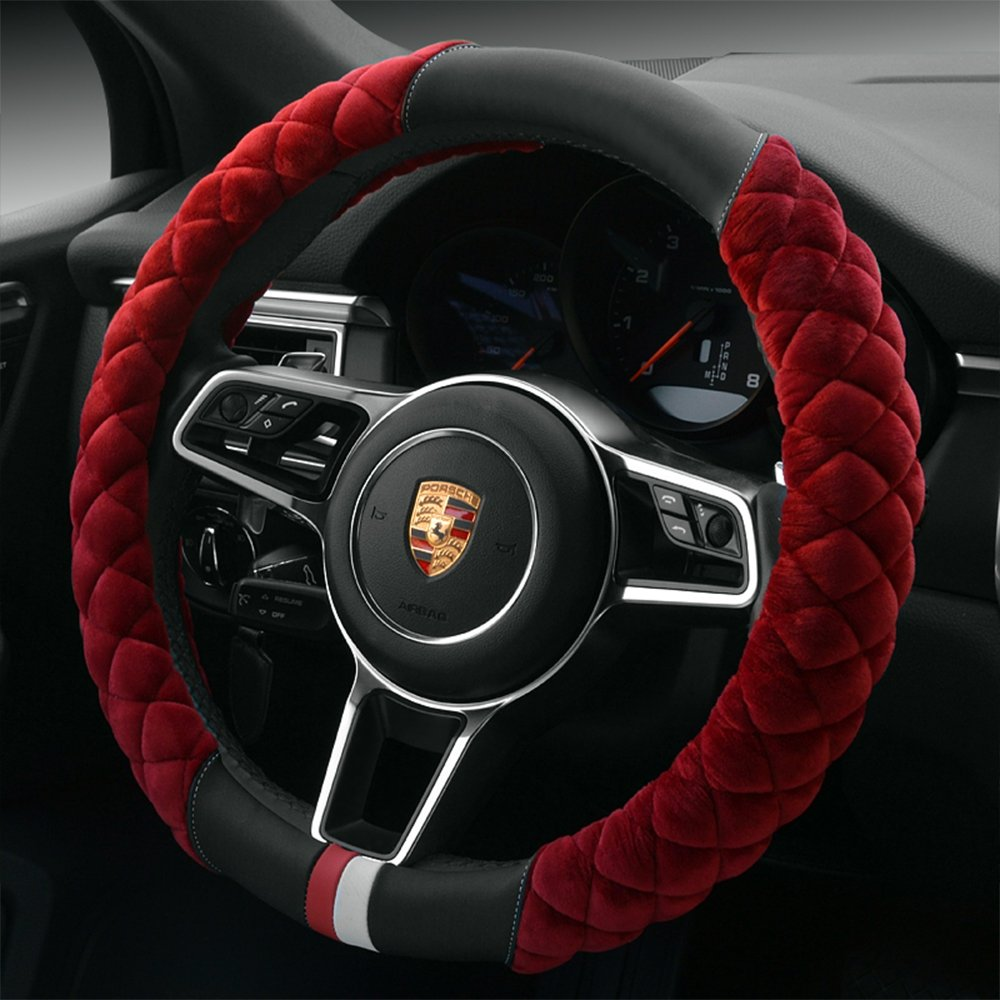 """【QIMEI】Universal Car Steering Wheel Cover Fluffy Size 38cm / 15"""" Winter Plush steering wheel cover warm (B-Red)"""