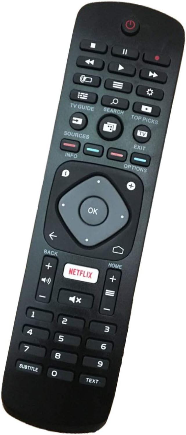 Nuevo Reemplazo Control Remoto para Philips 996596001555 YKF406-001 para Philips LCD LED 3D HD TV Inteligente con Botón de Netflix - No se Requiere configuración Control Remoto